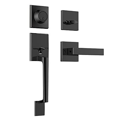 Front Door Handleset with Deadbolt, Single Cylinder Handleset with Door Lever for Right & Left Sided Doors Matte Black