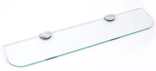 Estante de cristal con esquinas curvas, 3 tamaños, 300 mm, 400 mm, 500 mm, 3 colores, blanco, transparente, negro, para el baño, la cocina o el dormitorio, vidrio, transparente, 500mm x 100mm