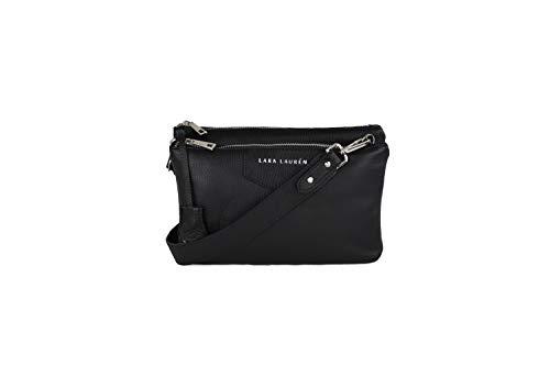 Lara Lauren City Mini black aus hochwertigem Nappaleder Crossbody Handtasche Maße ca. 17,5x26x9cm (HxBxT)