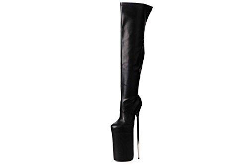 GIARO Fly High Overknee Stiefel in Übergrößen Schwarz große Damenschuhe, Größe:45