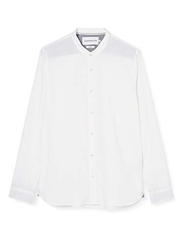 Calvin Klein Band Collar Linen Shirt Camisa, Blanco (Bright White Yaf), S para Hombre