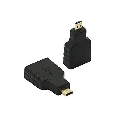 Qianrenon - Adaptador micro HDMI a HDMI, conector convertidor micro HDMI macho a HDMI hembra para cámaras/videocámaras compatibles con 4K/3D, paquete de 2.
