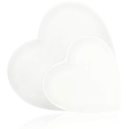 com-four® 2-teiliges Set Dekoplatte in Herzform - dekorativer Schale aus mitteldichter Holzfaserplatte - zwei verschiedene Größen - 20cm, 30cm (weiß - klein+groß)
