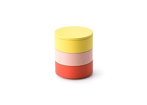 Continenta 3er Set, Aufbewahrungsdosen aus Holz, Ø 9 x 9,5 cm, in Koralle/rosa/gelb, gelber Deckel, Dekoration und Schmuckkästchen