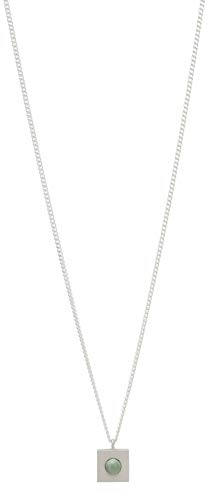 Kurze Halskette Louise Kragh mit Quadrat und Porzellanperle - Sterlingsilber (Silber Mint)