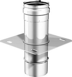 Articolo fumisteria Linea 'Legna' e 'pellet':piastra con elemento dritto, spessore 0,5 mm acciaio inox, diametro 200 mm