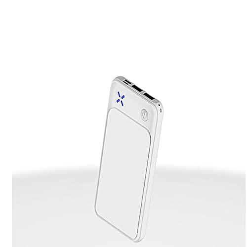 AWSAD Mini mobile power 10000 mAh portable charging treasure thin dual USB handle rope gift (Color : White)