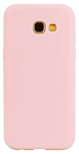 LUSHENG Capa de silicone para Samsung Galaxy A5 (2017), Samsung Galaxy A5 (2017) Capa macia de TPU à prova de choque, absorção de choque de corpo inteiro [resistente a impressões digitais] - Rosa claro