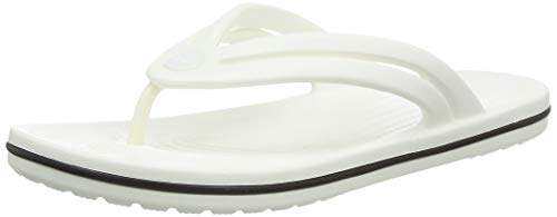 Crocs Women's Crocband Flip Flop | Slip On Water Shoes | Casual Summer Sandal, White, 9 M US