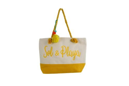 S7 STAR Bolso de Playa Grande Shopper con Cremallera y Asa de Cuerda para Mujer (Sol y Playa Amarillo)