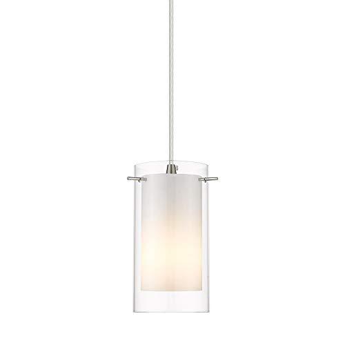 1-Light Pendant Light, AKEZON Indoor Glass Hanging Light Fixture, Adjustable Height, Brushed Nickel Finish for Kitchen Dining Room, KP-506
