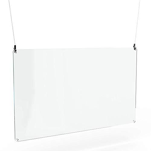 Betriebsausstattung24® Spuckschutz zum hängen inkl. Abhängeset | Acrylglas | 100,0 x 60,0 cm | Hustenschutz | Virenschutz zur Deckenmontage