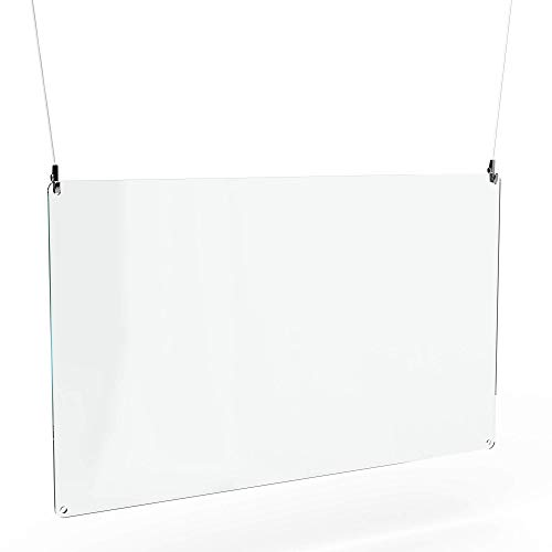 Betriebsausstattung24® Spuckschutz zum hängen inkl. Abhängeset   Acrylglas   100,0 x 60,0 cm   Hustenschutz   Virenschutz zur Deckenmontage