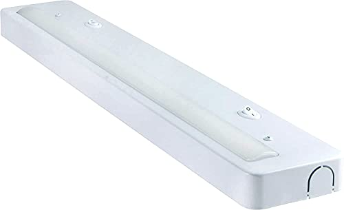 GE 34289 LED Under Cabinet Fixture, Direct Wire, 1100 Lumens, 97 CRI, Light Color Selection, On/Off Switch, in-Wall Dimmer Compatible, Steel Housing, 24 Inch, White