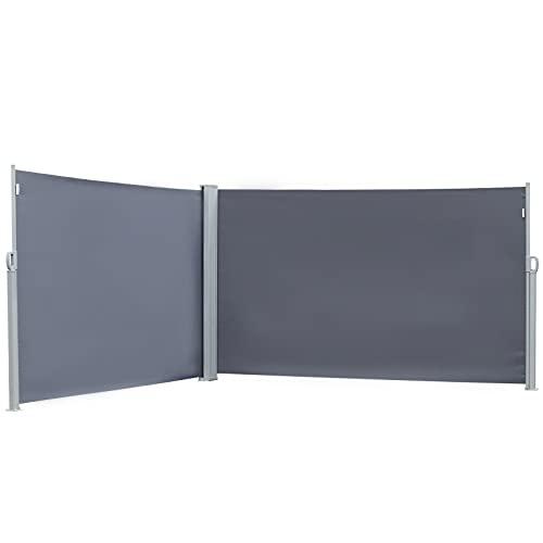 GXK Doppel-Seitenmarkise Sichtschutz Seitenrollo Polyester 2 Farben 2 Größe (Color : Grau, Size : L600 x H180 cm)