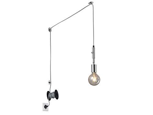 Lámpara colgante LED con casquillo orientable en níquel plateado mate – 6 metros de cable extra largo con enchufe – Iluminación interior flexible y versátil