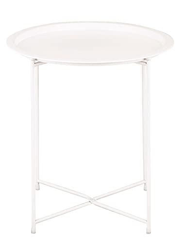 Beistelltisch 2. Wahl Gartentisch Balkon Tisch Terassentisch rund Alberta Metall wetterfest zusammen Farbe weiß
