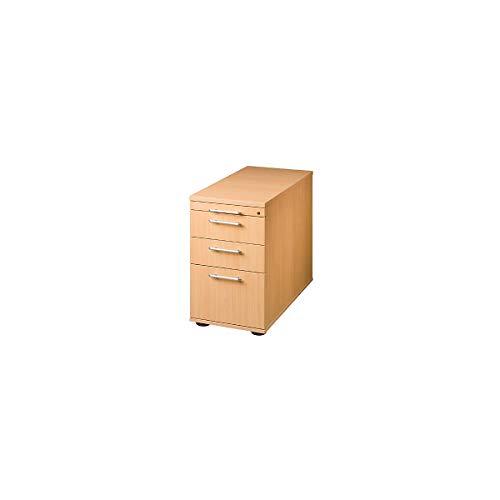 Hammerbacher Standcontainer, höhenverstellbar - 1 Utensilienschub, 2 Schubladen, 1 Hängeregistratur - Buche-Dekor | VSC40/6 - Beistellcontainer Beistellschrank Beistellschränke Bürocontainer Büromöbel Container FINO FINO Büromöbelprogramm