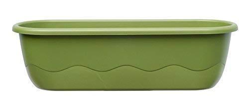 Blumenkasten Balkonkasten Bewässerungskasten Mareta mit Wasserstandsanzeiger incl. Kastenhaken für den Balkon (80 cm, Hell-u. dunkelgrün)