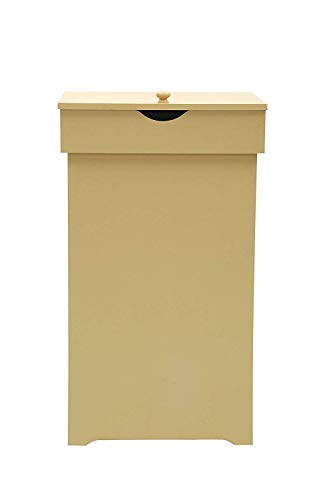 """JEROAL Trash Can Garbage Bins Waste Container 13 Gallons Recycling Dustbin Litter Bin Cabinet Wooden Kitchen Wastebaskets Space Saver with Lid in Yellow 16"""" W x 13"""" D x 265"""" H"""