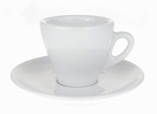 Moka Consorten Italienische Espressotasse | »Torino« | Füllmenge (bis zur Oberkante): 70 ml | weiß | handgemacht | 6 Tassen & 6 Untertassen | Made in Italy