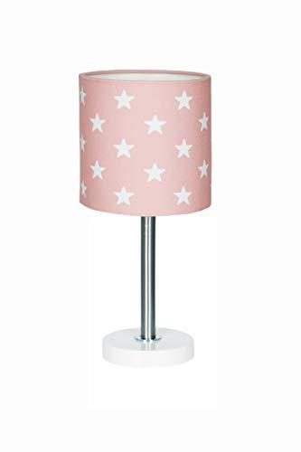 Nachttischlampe Kinderzimmer Tischleuchte mit Sternen in rosa Weiss, 15 x 15 x 35 cm, E27, 60 Watt, 230Volt