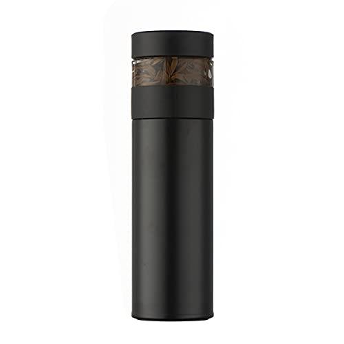 WWWL Thermos Tazza, Thermos a Doppia Parete in Acciaio Inox con Filtro da tè 400ml Bottiglia d'Acqua a Prova di perdite LCD. Display Temperatura Smart Aspium Bock (Color : Black, Size : 400ml)