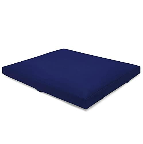 Present Mind Tapis Yoga Zabuton - Tapis de Yoga Pliable - Coussin de Méditation Fabriqué dans l'UE - Housse Lavable - Tapis Yoga Épais 100% Naturel - 70 x 82 x 6-8 cm - Couleur : Comflower