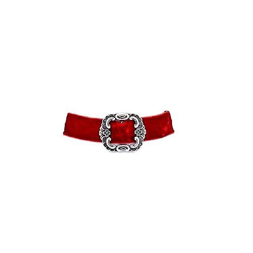 Edelweiss Trachten Oktoberfest Cadena con colgante en cinta elástica de terciopelo rojo oscuro