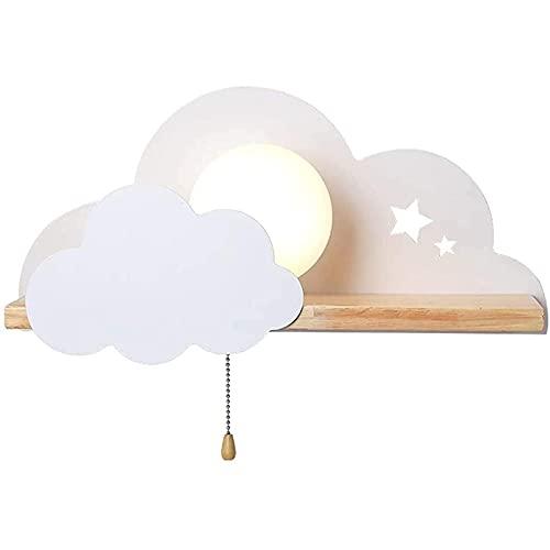 Yokbeer Aplique De Pared De Nube Interior Habitación Infantil Niños Niñas Lámpara De Pared Madera con Interruptor Bola De Cristal Redonda Decoración De Metal Iluminación De Pared (Color : White)