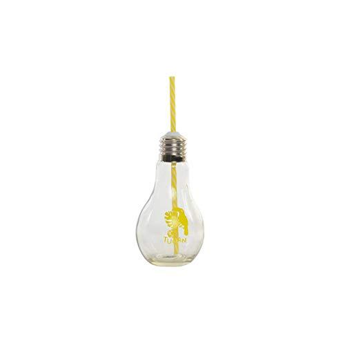 Vaso Portable de Cristal Transparente, con Pajita. Diseño Original con Forma de...
