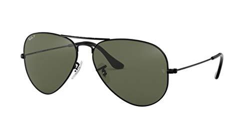Ray-Ban RB3025 Aviator Large Metal Unisex Polarized Aviator Sunglasses (Black Frame/Crystal Green Polarized Lens 002/58, 62)