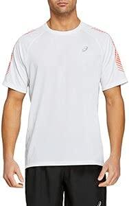 ASICS Icon SS Top T-Shirt, Brilliant White/Flash Coral, XL Mens
