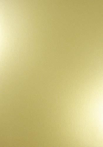 Netuno 10 x Perlmutt-Echt-Gold 120g Papier DIN A4 210x297mm Majestic Real Gold doppelseitig schimmernd Perlglanz Pearl-Papier metallic glänzend Bastel-Karton für Inkjet und Laser Drucker