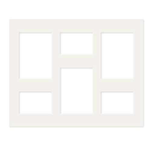 PHOTOLINI Galerie-Passepartout Weiß 40x50 cm für 6 Bilder (3X 9x13 cm, 3X 13x18 cm) | Passepartout mit Mehrfachausschnitt