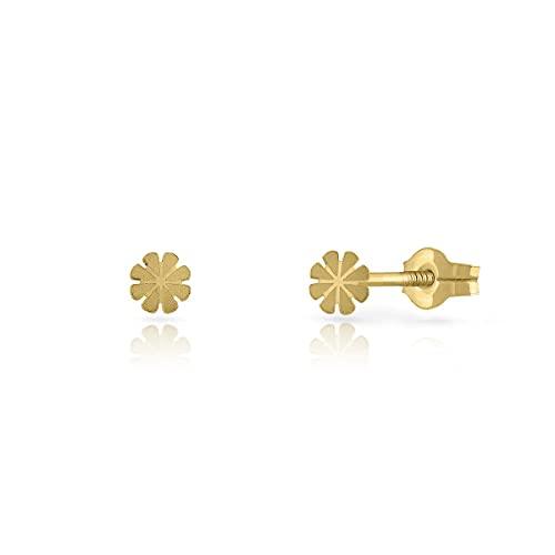 Pendientes Oro de Ley Certificado. Niña/Mujer. Diseño Margarita. Cierre de presión. Medida 3.5 mm. (1-7002)