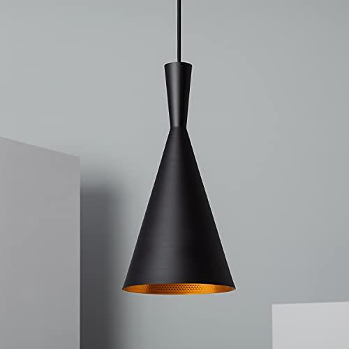 LEDKIA LIGHTING Lampada a Sospensione Lennon 185x380 mm Nero E27 Alluminio per Sale, Soggiorno, Cucina, Camera