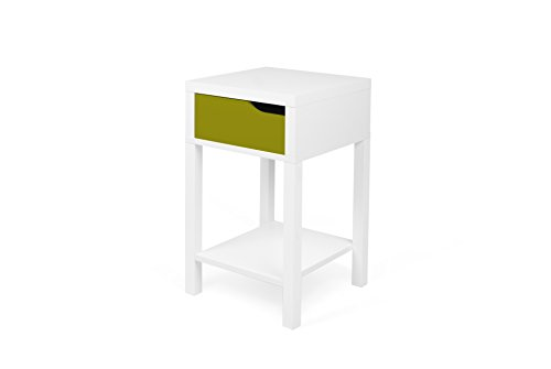 TemaHome Basics Table de Chevet Table de Nuit, 34 x 34 x 58,7 cm, Blanc/Vert