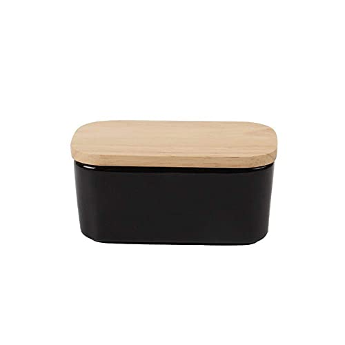 Plato De Mantequilla De Cerámica, Caja De Mantequilla De Silicona Sellada, Plato De Mantequilla Esmaltado Tapa De Madera Con Tapa De Bambú - Caja Hermética - Anillo De Silicona-Black