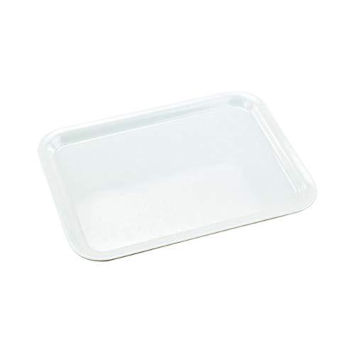 BESTONZON Plateau de service en plastique blanc Plateau rectangulaire Plateau de service pour plats de fête Assiettes (Petite taille)