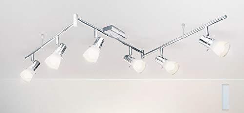 Trango 6-flammig 1007-68 LED Deckenleuchte - Chrom-Optik gebürstet *FREYA* inkl. 6x E14 LED Leuchtmittel 3.000K warmweiß Badleuchte, Flurleuchte, Küchenleuchte, Schwenkbare Deckenlampe, Kronleuchter