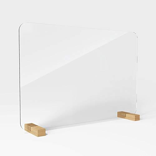 Acryl-Platte, transparente Trennwand, Schutzscheibe stehend, 100 x 50 cm