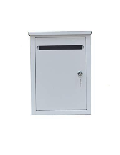 Teng Peng An der Wand befestigter Briefkasten im Freien Regen-Rost-Briefkasten Weiß Abschließbares Postfach