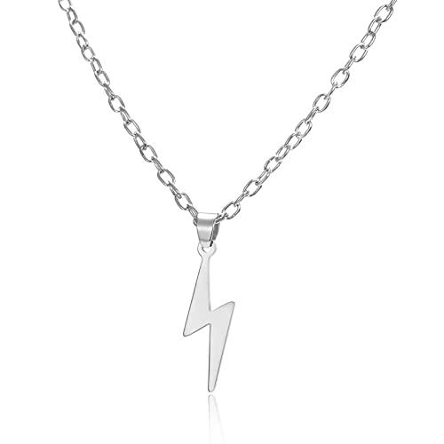 DSFG Collar de Acero Inoxidable para Mujeres, Hombres, Cadena Larga, Colgante pequeño, Collar con relámpagos, Adorno de Fiesta, Regalo de joyería
