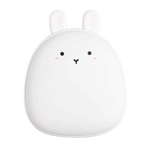 WJH9 Kalter Winter-USB-Handwärmer, Personalisieren reizende Kaninchen Kleine Weihnachts Deer Winter-kreative Geschenke, Heizung Kleine Klimaanlage Geschenk für Tochter, iPhone Android-Ladegerät,Weiß