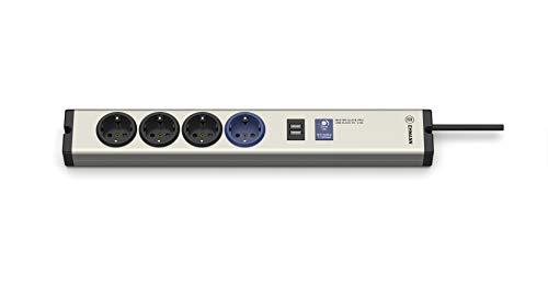 EHMANN 0616x0a048001 Aluminium Master/Slave Steckdosenleiste, Professional 4-Fach+1USB, einstellbare Schaltschwelle 7-100 Watt