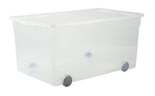 Rotho Clear Box Aufbewahrungsbox 63 l mit Deckel, Kunststoff, XXL mit Rollen 63 Liter