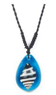 Real Surfers Sea Life Banded Seashell Beach Necklace Charm Blue - Adjustable Length