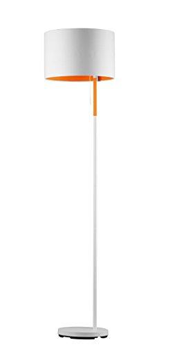 Trio Leuchten Stehleuchte LANDOR, weiß, Stoffschirm weiß/innen orange 401400101