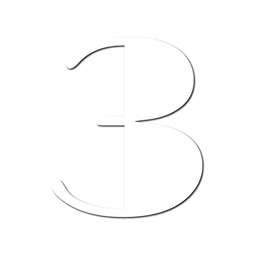 House Number 3 Broadway Door Numbers in 3 Sizes (15, 20, 25cm / 5.9, 7.8, 9.8in) Modern Floating House Number Acrylic incl. Fixings, Colour:White, Size:20cm / 7.9'' / 200mm